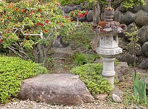 Garden With Stone Lantern Stock Photo