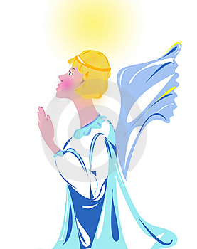 Illustration Praying Angel Free Stock Photography