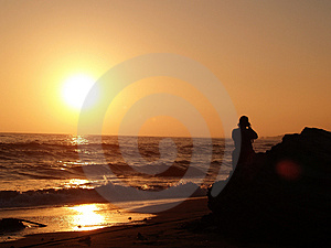 Photographer at the Beach Royalty Free Stock Photo