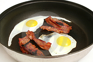 Fried eggs & bacon in skillet upclose Stock Photography