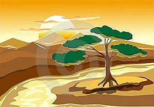 Landscape In Decorate Style Stock Images - Image: 20003934