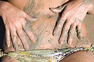 Wet Navel With Sand Royalty Free Stock Photo - Image: 20008235