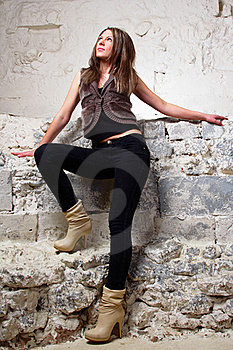 Sexy Girl Standing Wall Background Stock Image - Image: 20010751