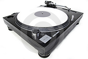 Isolated Turntable With White Vinyl Record Royalty Free Stock Photography - Image: 20014637