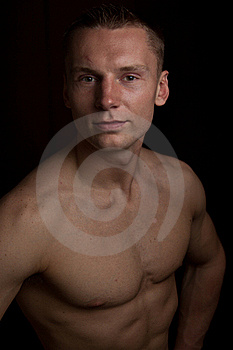 Muscular Man On Black, Isolated Royalty Free Stock Photos - Image: 20017918