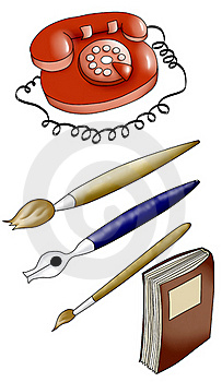 Telephone, Two Brushes, Fountain Pen ,a Book. Royalty Free Stock Images - Image: 20020549