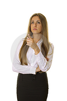 Beautiful Businesswoman Pointing At Copyspace Royalty Free Stock Photo - Image: 20022465
