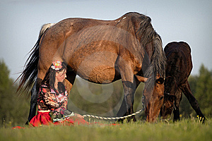 Beautiful Girl With Horses At Sunset Royalty Free Stock Photo - Image: 20026835