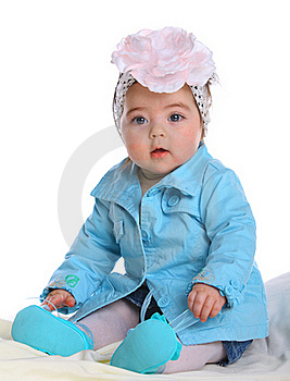 Small Baby Wearing Blue Coat Stock Photography - Image: 20027602