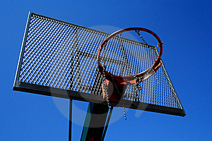Basketball Basket Zoomed Foto On Blue Sky Royalty Free Stock Photography - Image: 20029397