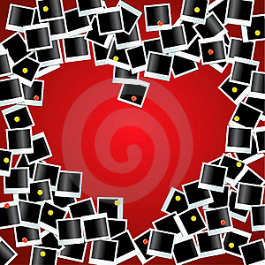 Heart Made From Photos On Red Bg Royalty Free Stock Image - Image: 20029896