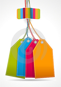 Plain Colorfull Tags With Rainbow Sticker Royalty Free Stock Image - Image: 20029926