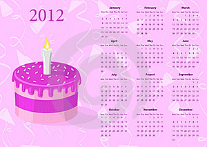 European Vector Calendar 2012 With Cake Royalty Free Stock Images - Image: 20031559