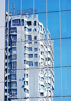 Dwelling House. Reflexion In A Mirror Wall Royalty Free Stock Image - Image: 20042976