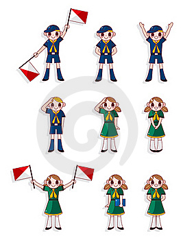 Cartoon Boy/girl Scout Icon Set Stock Images - Image: 20048924