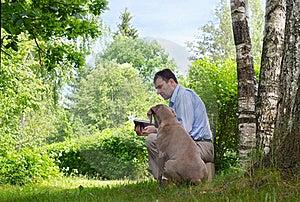 Man And Dog Outdoors Royalty Free Stock Photos - Image: 20049508