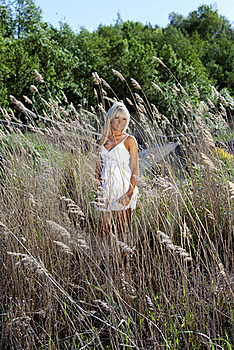 Girl Are Standing In Dry Grass Stock Image - Image: 20051701