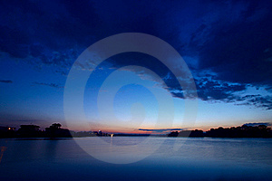 River Night Scenery Royalty Free Stock Image - Image: 20053826