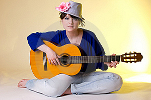 Romantic Girl With The Guitar Royalty Free Stock Photography - Image: 20059387