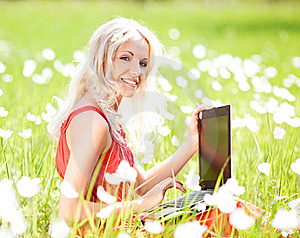 Woman With A Laptop Stock Image - Image: 20060271