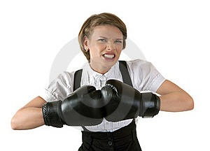 The Dissatisfied Girl In Boxing Gloves Stock Photos - Image: 20063143