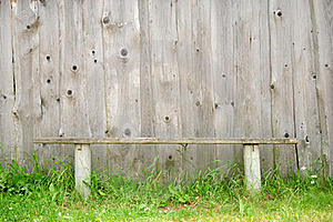 Old Bench Against Wooden Wall Royalty Free Stock Images - Image: 20065409