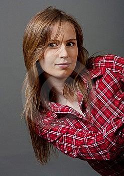 女孩嬉戏的红色衬衣 库存照片 - 图片: 20069130