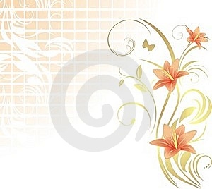 Frame With Lilies. Pattern For Design Royalty Free Stock Images - Image: 20070959
