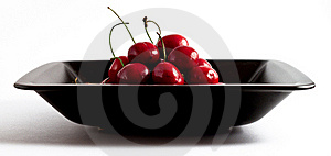 Cherries In Black Bowl Stock Photo - Image: 20072690