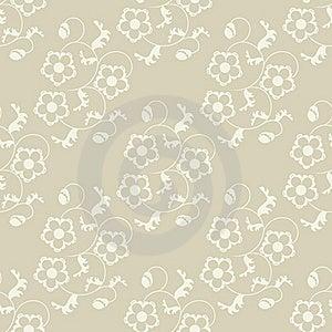 Seamless Flowers Beige Background. Stock Photo - Image: 20072760