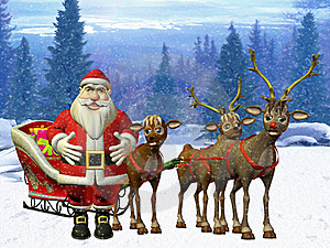 Santa With Reindeers Stock Photo - Image: 20077130