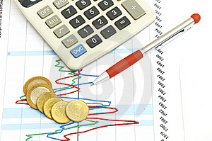Calculator, Coins And Pen Laying On Chart. Stock Photo - Image: 20078630