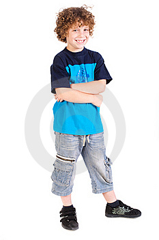 Kid Posing With Arms Crossed Royalty Free Stock Photo - Image: 20079095