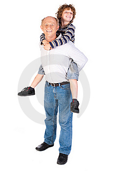 Grandfather Giving Grandson Piggy-back Royalty Free Stock Photos - Image: 20079118