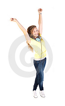 Portrait Of A Happy Young Woman Enjoying Music Stock Image - Image: 20079151