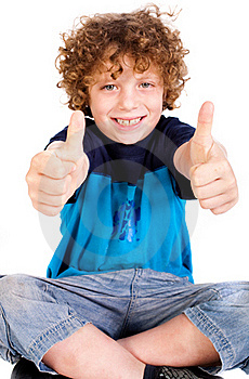 Young Kid Showing Double Thumbs Up Royalty Free Stock Image - Image: 20079166