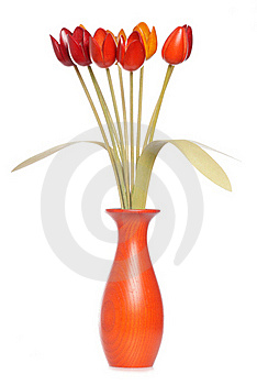 Wooden Tulips In A Vase Royalty Free Stock Image - Image: 20085446
