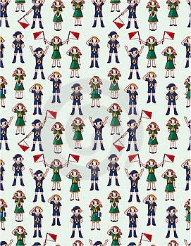 Seamless Boy/girl Scout Pattern Stock Photos - Image: 20091703