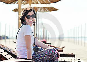 Young Woman Relax  On Beach Stock Image - Image: 20091791