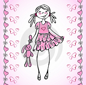 Lovely Vector Girl How Fall In Love Heart. Royalty Free Stock Photos - Image: 20093688