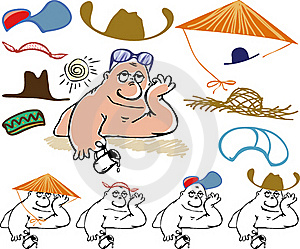 Collection Of Hats From The Heat Royalty Free Stock Photography - Image: 20097847