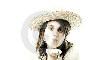 Blowing A Kiss (high Key Green Tones) Stock Photo - Image: 2011420