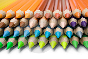 Layered Colored Pencils Free Stock Photo