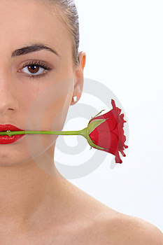 Isolated portrait of beauty with rose