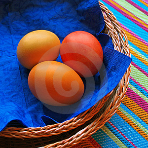 Three Eggs In The Baskets On Striped Fabric Stock Image - Image: 2017201