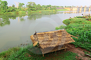 Bamboo Hut And Farmer's Garden At Riverside View Royalty Free Stock Image - Image: 20105236