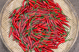 Red Chili Peppers On Bamboo Weave Royalty Free Stock Photo - Image: 20105375
