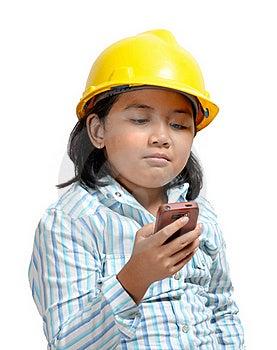 Engineer Girl On Phone 01 Stock Photos - Image: 20106083