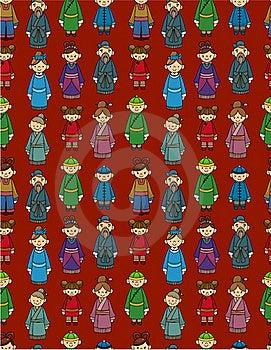 Cartoon Chinese People Seamlese Pattern Royalty Free Stock Photos - Image: 20106668