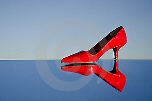 One Red Stiletto On Mirror Stock Images - Image: 20107094